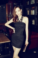 Free Shipping 2014 Summer New Women Sexy Nightclub Party Hook Flower Lace Halter Neck Dress