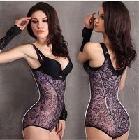 Plus size sexy seamless abdomen drawing shapewear Women magic body slimming corset ladies lace floral print shaper bodysuit