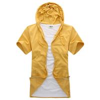 wholesale  male  hood  fashionable casual short-sleeve T-shirt  colors men tees tops