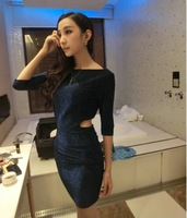 Spring 2014 Women'S New Boat Neck Dress Hollow Waist Skirt Flash