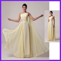 Grace Karin Free Shipping 1pc/lot One shoulder Chiffon Long Bridesmaid Dress, Light Yellow CL6066