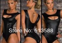 Free shipping Black imitation leather jumpsuits lingerie women sexy lingerie sex dress women lingerie