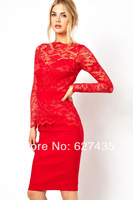 Wholesale!FREE SHIPPING!(10pieces)Sexy DressLong Sleeves Graceful Blue Lace Bodycon Women Party Winter Spring Dress LC6217