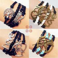 100pcs/lot  infinity love heart to heart bracelet leather rope bracelet bangle weave chain Metal  Birds Infinity Bracele