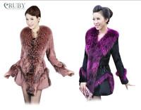 EMS Free Shipping 100% Real Genuine Natural Biggest Raccoon Fur Collar Rabbit Fur Coat Jacket Slim Overcoat Garment Women PC75