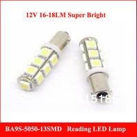 DHL 100pcs X 12-14LM  T11 BA9S White 5050 SMD 13LED Car Light Bulb Lamp 12V  T4W  H6W  Indicator License Plate Map Dome