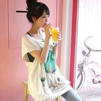 Women's summer clothes summer honey sisters equipment short-sleeve T-shirt loose batwing shirt top