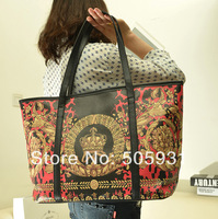 Double Faced 2014 Women Bag Print Handbag All-match Vntage Flower Color Block