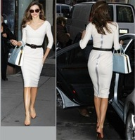 Free Shipping 2014 spring and summer new arrival women's victoria white sexy slim hip slim one-piece dress