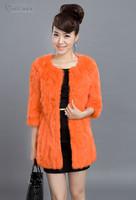 EMS Free Shipping 100% Real Genuine Natural Rabbit Fur Long Coat Jacket Overcoat Fashion Slim Garment Women Lady 10 Colors PC73