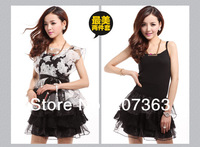 Free shipping Summer Fashion organza lace dress Summer novelty women's sleeveless Skirt  belt  lace print dress  2-piece dress
