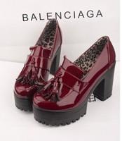 Fashion spring thick heel platform high-heeled tassel platform single shoes japanned leather fashion female shoes size 35-39