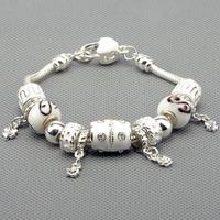 Charm Bracelets & Bangles 925 silver bracelets for women fine pink beads charm bracelets jewelry free shipping PAN-BR012