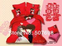 Free Shipping 2014 Latest  acitve dyed   100% cotton  Wedding Four-piece kit   Queen Size