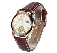 New arrival Free Ship ,Hot sale ORKINA Watches rose gold mechanical mens watch brown watchband table,free shipping