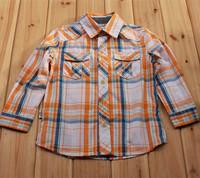 Wholesale 5pcs/lot autumn-Spring 2014 new Fashion Shirt Boy's plaid shirt Long sleeve Lapel blouses & shirts 100% cotton