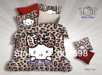 Free Shipping 2014 New Arrive 100% acitve dyed 4 pcs bed set  cartoon  linen Full size  cat