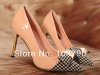 New 2014 spring houndstooth shoes pointed toe red bottoms women high heels pumps ladies stilettos dress shoes woman size 35-39