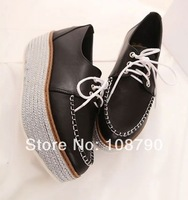 New 2014 spring vivi style lace up wedges creepers platform shoes women fashion casual shoes ladies white black size 35-39