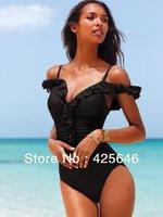 New 2014 Women's Bandage Shoulder Straped Sexy Slim Swimwear Bikinis Set Swimsuit Beachwear Freeshipping#BK026