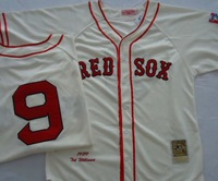 Free Shipping American Baseball Jersey Boston Red Sox #9 Ted Williams Throwback Jerseys Embroidery logo Size 48-56