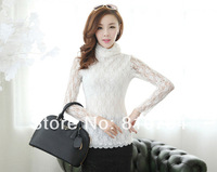 2014 new autumn Korean high necked lace shirt large size women's Long Sleeve bottoming T shirt blouse