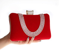 Unique Design Good Quality Corduroy Evening Bag U Shaped Rhinestones Clutch Handbag  Bridal Wedding Bag Hot New Pouch 7309