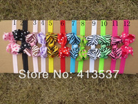 Free Shipping 12 colors wholesale boutique polka dot hair bow headbands ,60pcs/lot