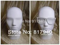 NEWEST!high-grade White gloss fiberglass male mannequin head for hat/ wig/ headphones display
