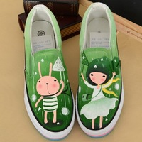 2014 Manual Painting Girls & Rabbit Personality women Slip-on Green Flat platform Canvas Shoes Fashion Sneaker For Spring&Summer