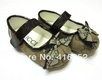 100%brand ! GU of the new princess shoes leather shoes European and American style of foreign trade children's   flattie
