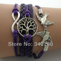 2014 new Infinity Wish Tree & Couple bird Charm Bracelet--Antique Silver Bracelet--Wax Cords and Imitation Leather Bracelet N28