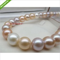 "AAAA 17""11-12mm REAL south sea white pink purples multicolor pearl necklace 14K"