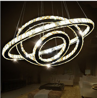 Modern brief Led crystal pendant lights  living room lamps Bedroom lamp Crystal circle light Luminaire Free shipping