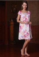 Nightgowns & Sleepshirts, quality mulberry silk embroidered short sleeve sleepwear, o-neck loungewear female