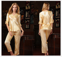 Top mulberry silk pajama sets, women sleepwear, sexy underwear lounge twinset silk shirt with half sleeve, come into 3colors