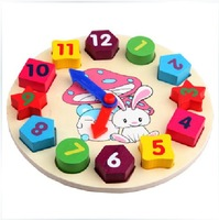 Child puzzle early learning toy multicolour clock small shape digital clock building blocks