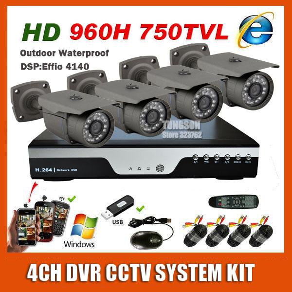 2014 neuer bester 4ch cctv-system-kit hdmi dvr sony effio 960h 750 tvl outdoor wasserdicht nachtsicht kamera Videoüberwachung