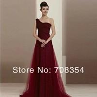 2014 New Arrival Elegant Pretty One-shoulder  Slim-fitting Gilding Decorated Evening Dress