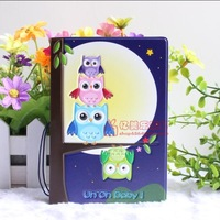 Free shipping  lovely owls cartoon character passport cover passport holder ID holder