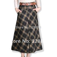 Women's 2014 bust autumn and winter ol skirt plus size plaid half-length full