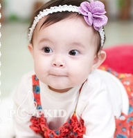 1806 Super Cute Elastic Baby Headband Flower Baby Chiffon Floral Festival  Forehead Hair  Head Band Hairwear