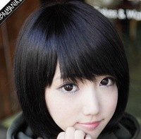 Gradient Bang/ Fringe Silky Straight Female Short BOBO Style Synthetic  Hair Wig Black / Brown Wig Women Hairpiece HOT Fashion