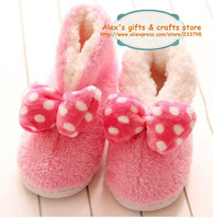 Free shipping super cute soft women warm bowknot plush home slippers, two color options, lovely  gifts for girls, 1 pairs sale
