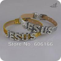 JESUS Full Rhinestone Slider Crystal Letter Charm Glitter Spark Leather Bracelet DIY Wristbands Mix Color Fashion Jewelry
