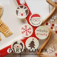 A free shipping  kraft christmas gingerbread man stickers handmade selfseal sticker lables d:3cm