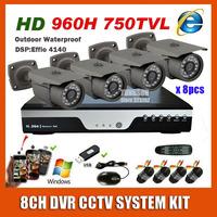 2014 NEW Best 8CH CCTV System Kit Sony 960h Effio 750TVL Waterproof Outdoor Video Surveillance DVR Security Camera System