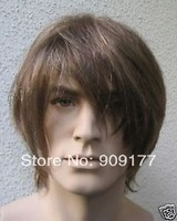 Natural Kanekalon costum Medium hair no lace Sexy Popular Hair Wig style mens hairline natural brown men's Kanekalon wigs