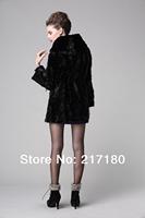 Fashion Women Warm Long Genuine Mink Fur Coats Lady Long Sleeve Hood Natural Winter Fur Coat Female Fur Russian Outwear Jacket