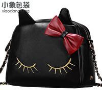 fashion women's handbag and cat messenger bag and  black leather-like tote bag